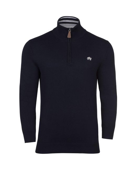 Raging Bull | Blue Big & Tall Plain Half Zip Neck Jumper for Men | Lyst