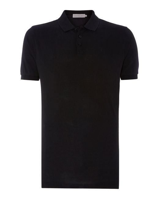 Calvin Klein | Black Paul Cotton Polo Shirt for Men | Lyst