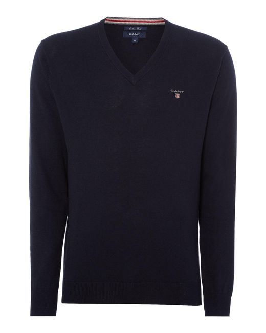 Gant | Blue Plain V Neck Jumper for Men | Lyst