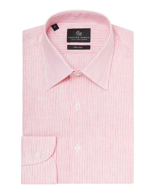 Chester Barrie | Pink Stripe Tailored Long Sleeve Classic Collar Shirt for Men | Lyst