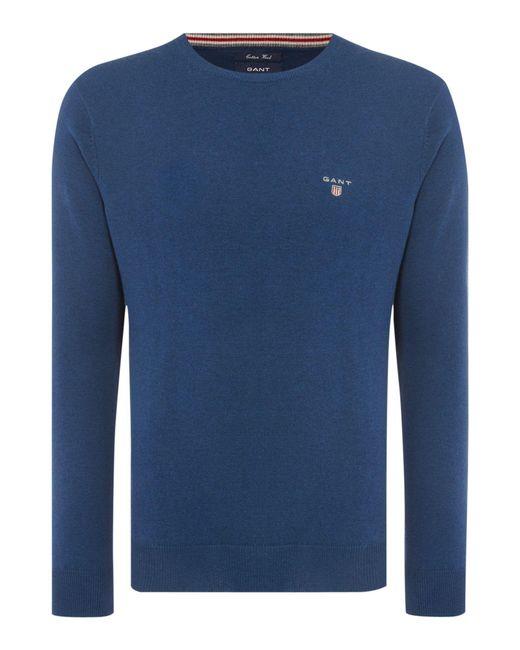 GANT | Blue Crew Neck Cotton Wool Jumper for Men | Lyst