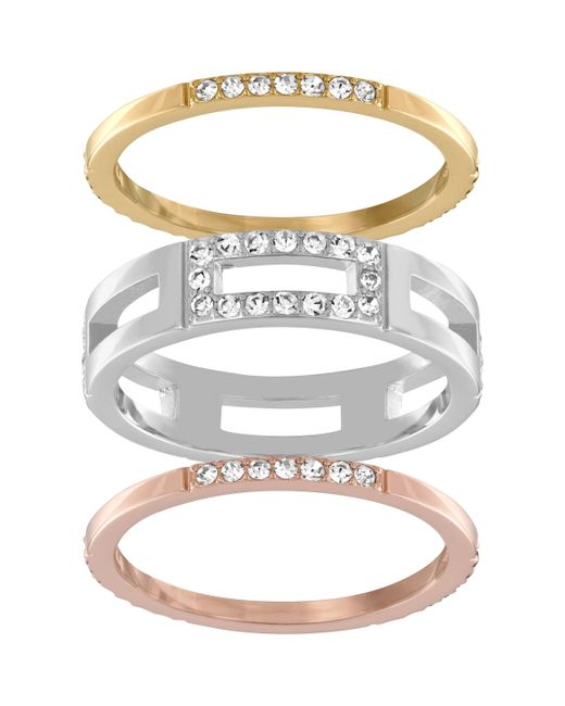 Swarovski | Multicolor Cubist Ring Set | Lyst