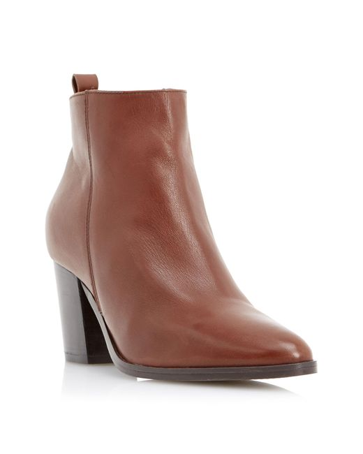 Dune Black | Brown Piper Pointed Toe Heeled Ankle Boots | Lyst