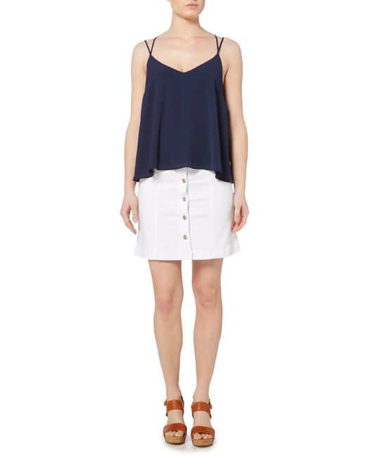 therapy denim button front skirt in white lyst