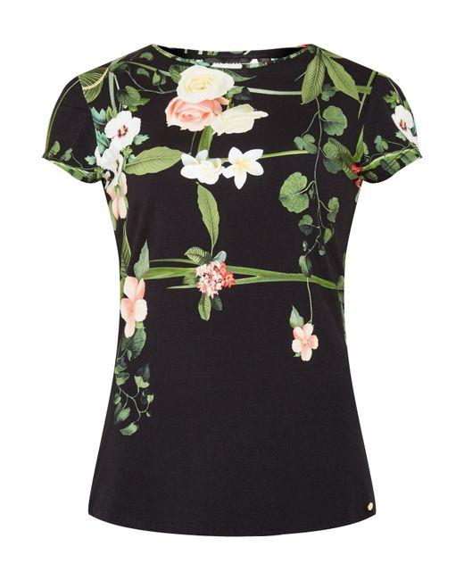Ted baker dafnee secret trellis t shirt in floral black for Ted baker floral shirt