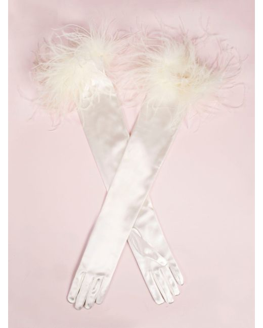 Dents Long Evening Glove, Ostrich Feather Trim in White ...