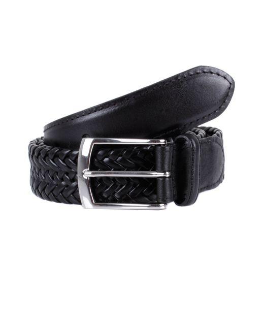 dents mens plaited leather belt in black for lyst