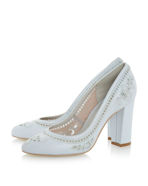 dune bethanee embroidered court shoes in white blue