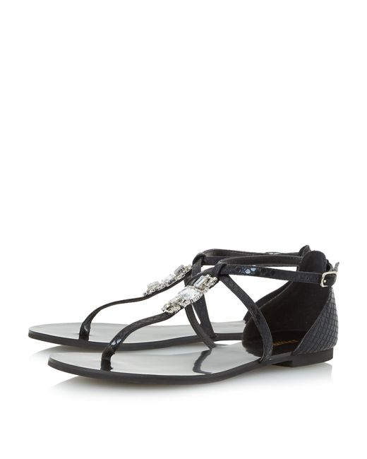 Dune Nayla Jewelled Toe Post Flat Sandals In Black Save