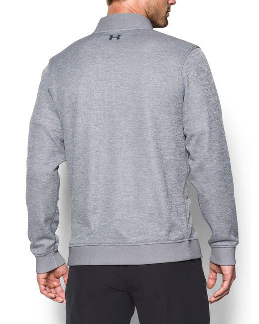 Under armour storm sweater fleece in gray for men save for Flannel shirt under sweater
