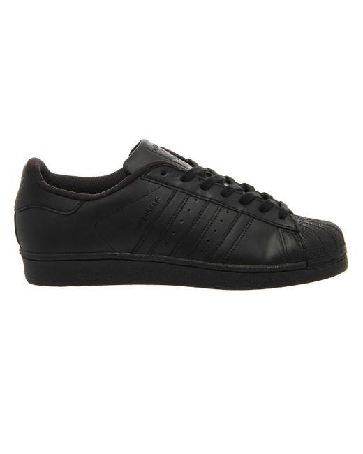 Adidas Originals | Black Superstar Foundation Leather Sneakers | Lyst
