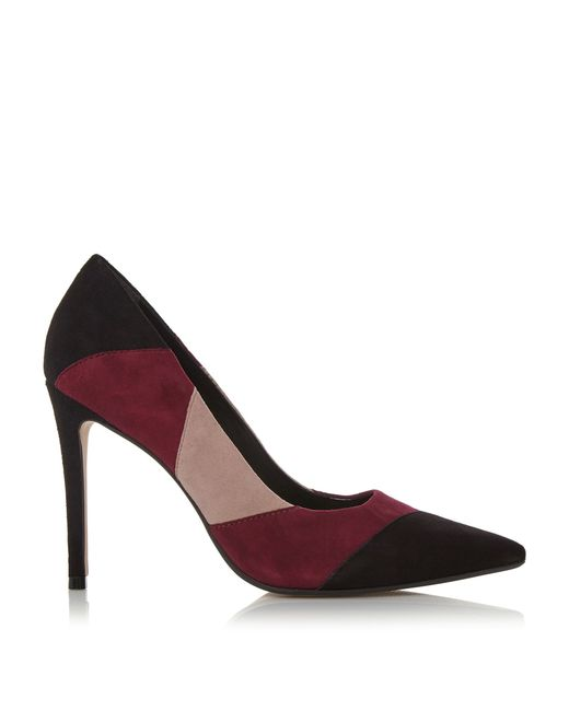 dune azzra patchwork high heel court shoes in multicolour