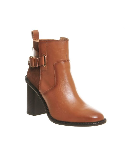 Office | Brown Lively Smart Heeled Boots | Lyst