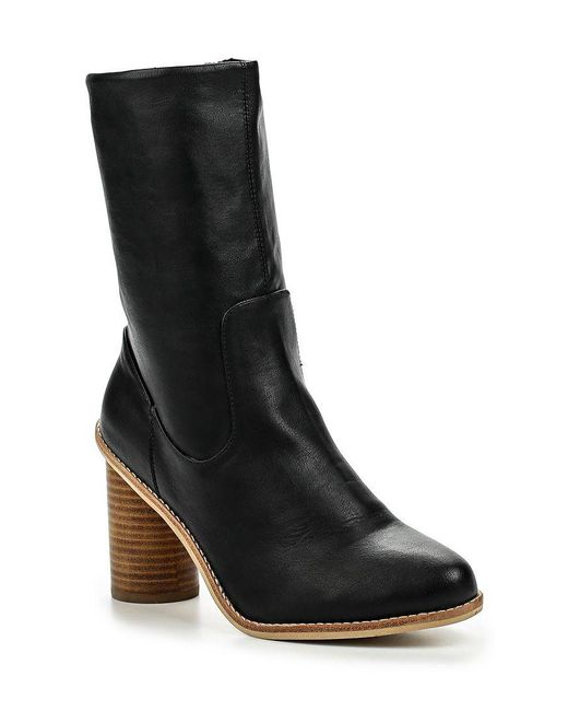 Lost Ink | Black Gorzo Round Heel Mid-height Boots | Lyst