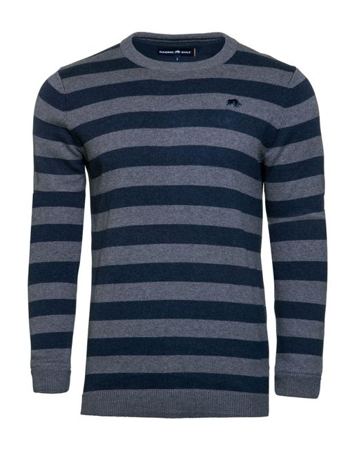 Raging Bull | Blue Big & Tall Stripe Crew Neck Knit for Men | Lyst