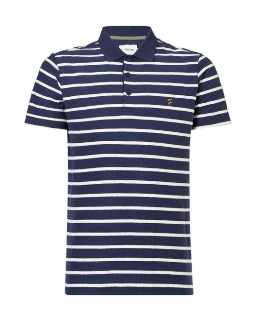 Farah   Blue Randall Herringbone Polo Shirt for Men   Lyst