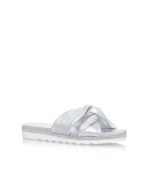 Nine West | Metallic Strobe Flat Sandals | Lyst