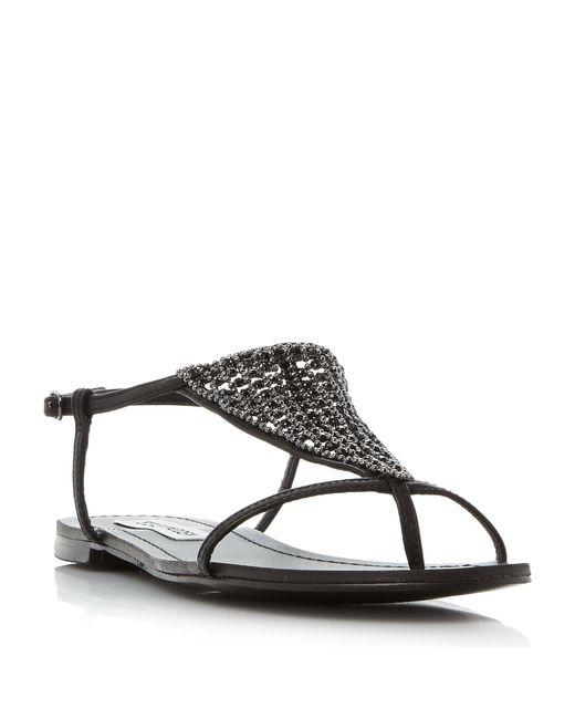 Steve Madden | Black Chasity Sm Diamante Flat Sandals | Lyst