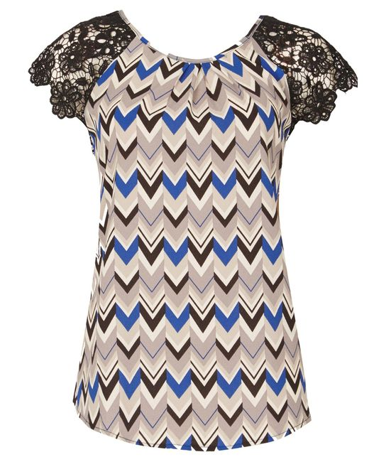 Izabel London | Blue Chevron Blouse Top | Lyst