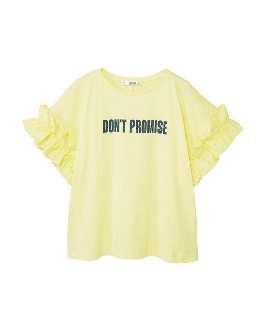 Mango | Yellow Ruffled Message T-shirt | Lyst