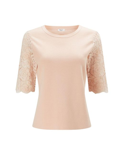 Precis Petite | Pink Petite Knit Lace Sleeve Top | Lyst
