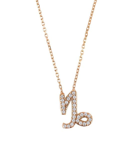 Latelita London | Metallic Zodiac Necklace Rose Gold Capricorn | Lyst