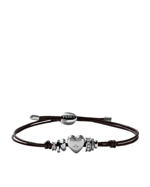 Fossil | Metallic Jf00116040 Ladies Steel Iconic Leather Bracelets | Lyst