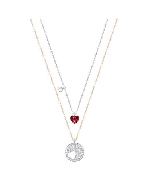 Swarovski - Metallic Heart Pendant Set - Lyst