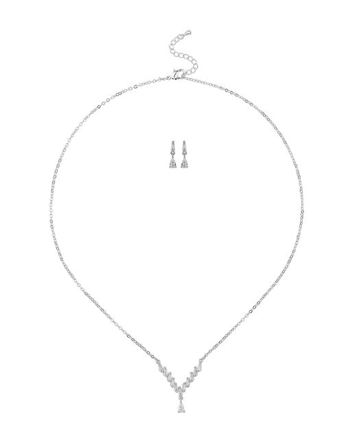 Mikey - White London Petite Crystal Designnecklace Earrin - Lyst