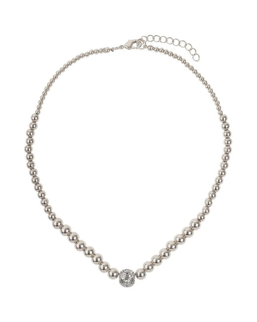 Mikey - White Large Crystals Ball Metal Chain Necklace - Lyst