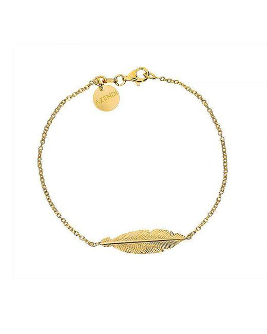 Azendi - Metallic Silver And Gold Vermeil Feather Bracelet - Lyst