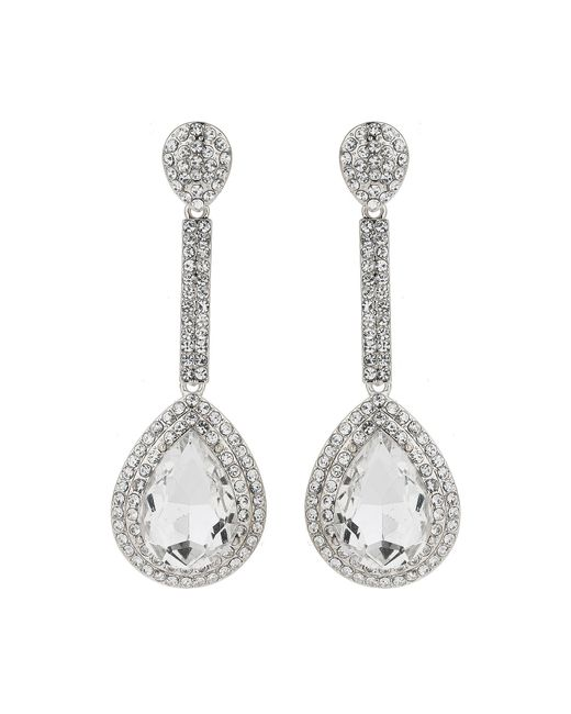 Mikey - White Eclipse Cubic Long Drop Earrings - Lyst