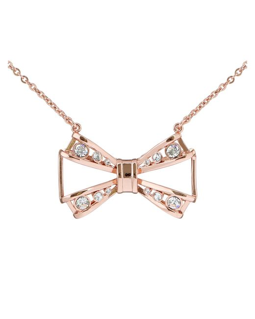 Ted Baker | Multicolor Jiao Rose Gold Jewelled Bow Pendant | Lyst