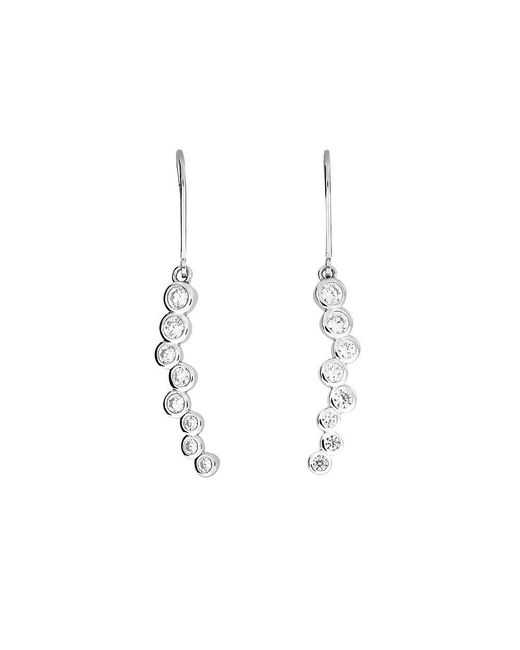 Azendi | Metallic Silver & Cz Eternity Drop Earrings | Lyst