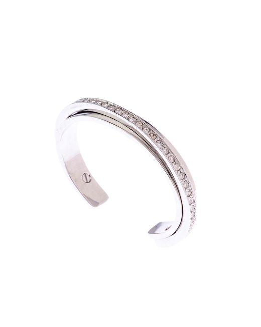 Karen Millen   Metallic Silver & Crystal Diagonal Cuff   Lyst
