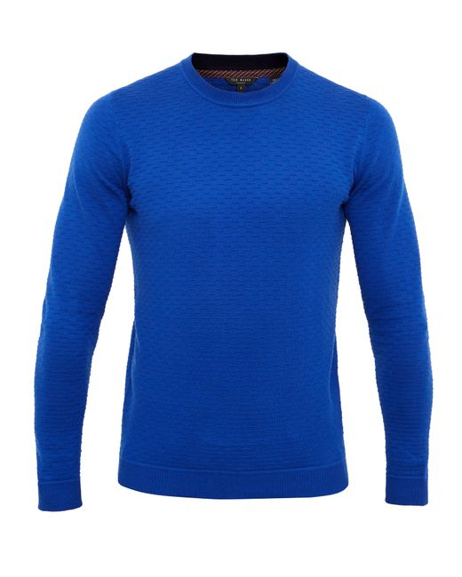Ted Baker | Blue Rettop Textured Crew Neck Jumper for Men | Lyst