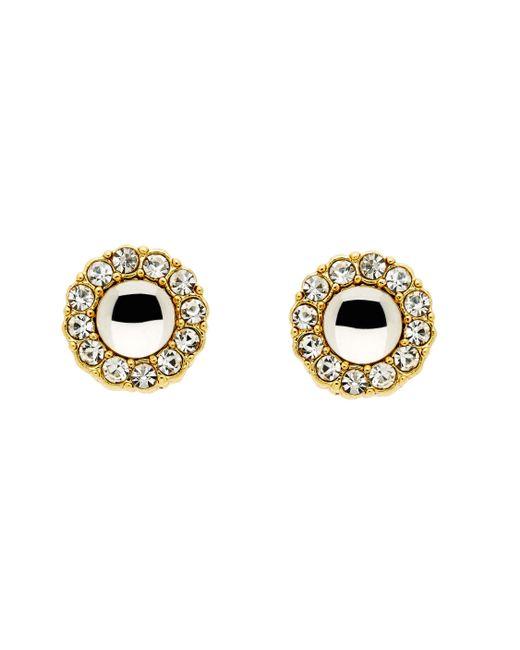 Monet - Metallic Gold Crystal Cabochon Earrings - Lyst