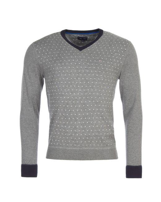 Eden Park | Gray Polkadot Cotton V-neck Jumper for Men | Lyst
