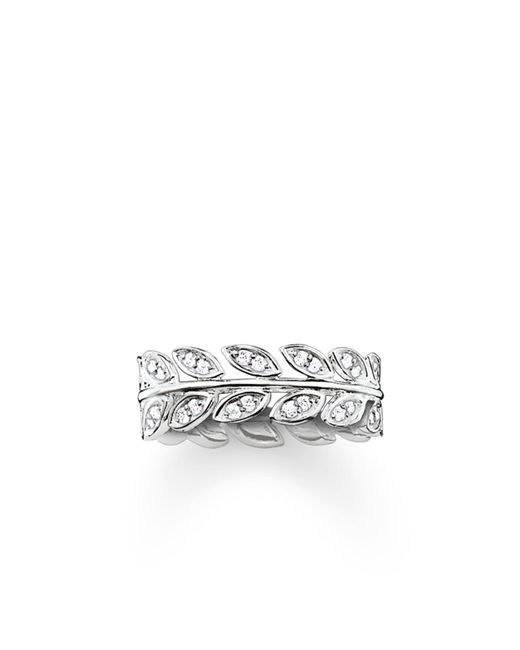 Thomas Sabo | White Fairy Twines Silver Leaf Ring Band | Lyst
