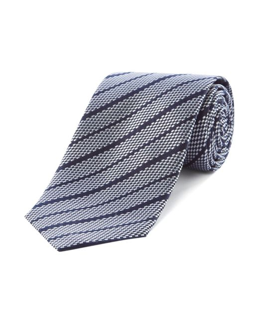 HUGO | Blue Silk Threaded Stripe Tie for Men | Lyst
