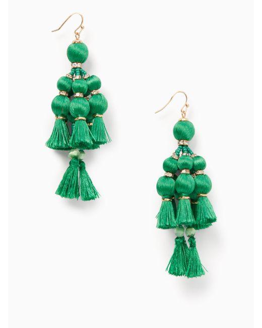 Kate Spade | Green Wbrue189 Tassel Statement Earrings | Lyst