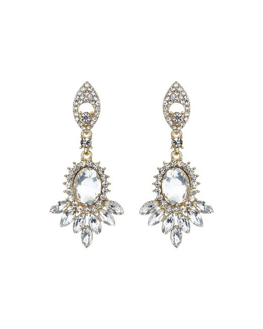 Mikey - Metallic Twin Drop Oval Spike Crystal Earring - Lyst