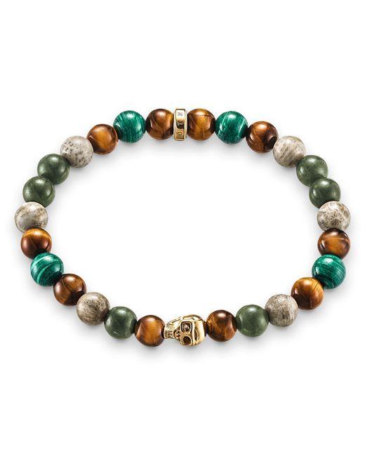 Thomas Sabo - Multicolor Rebel At Heart Stretch Gold Skull Bracelet - Lyst
