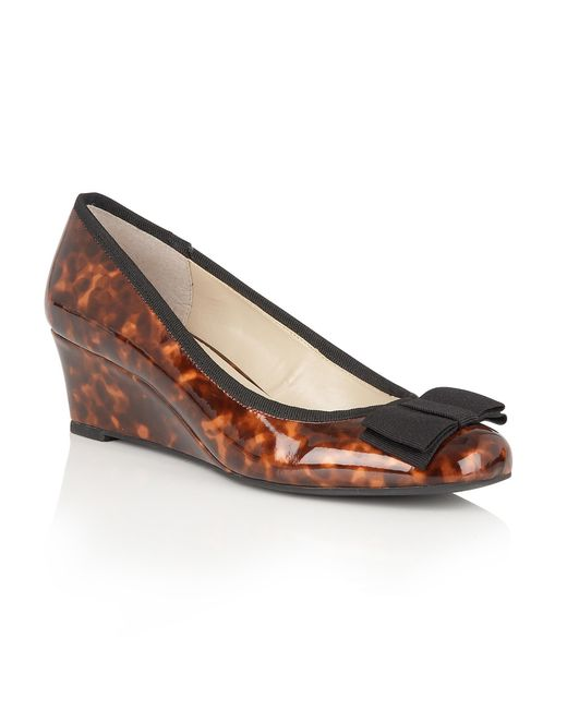 Lotus - Brown Rea Shiny Tortoiseshell Wedges - Lyst