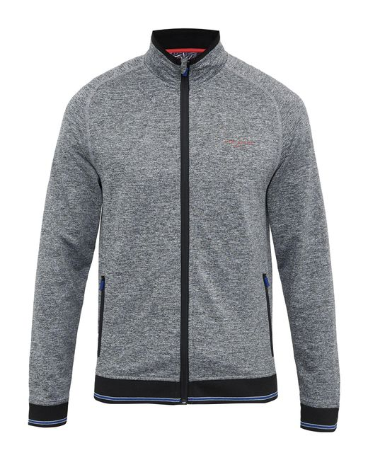 Ted Baker | Gray Parway Mouliné Zip Through Cardigan for Men | Lyst