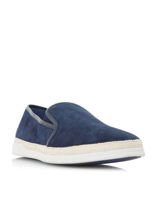 Dune - Blue Navy 'benjamin' Espadrille Detail Slip On Shoes for Men - Lyst