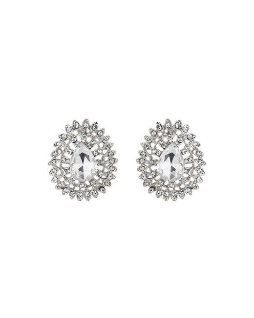 Mikey | Metallic Oval Edged Flower Stud Earring | Lyst