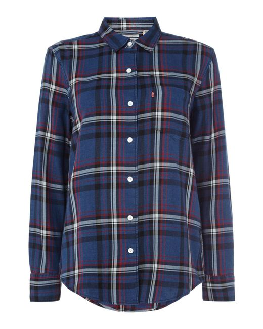 Levi's | Blue Wt Checked Boyfriend Shirt With Pocket for Men | Lyst