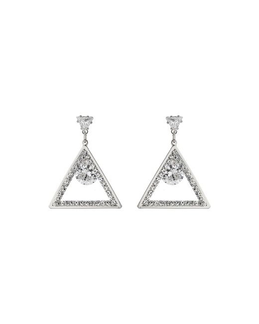 Mikey | White Triangle Shape Cubic Egded Drop Earring | Lyst