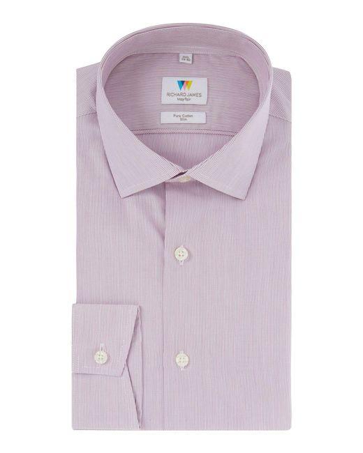 Richard James   Purple Red Hairline Stripe Shirt for Men   Lyst